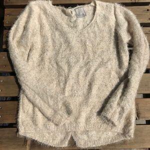 NUAGE, Cream Sequin Fuzzy Sweater, size Large